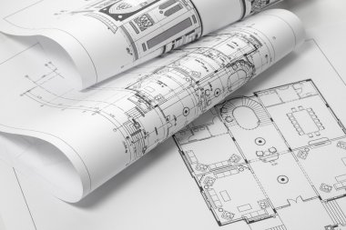 Close up of blue prints from angle. stock vector