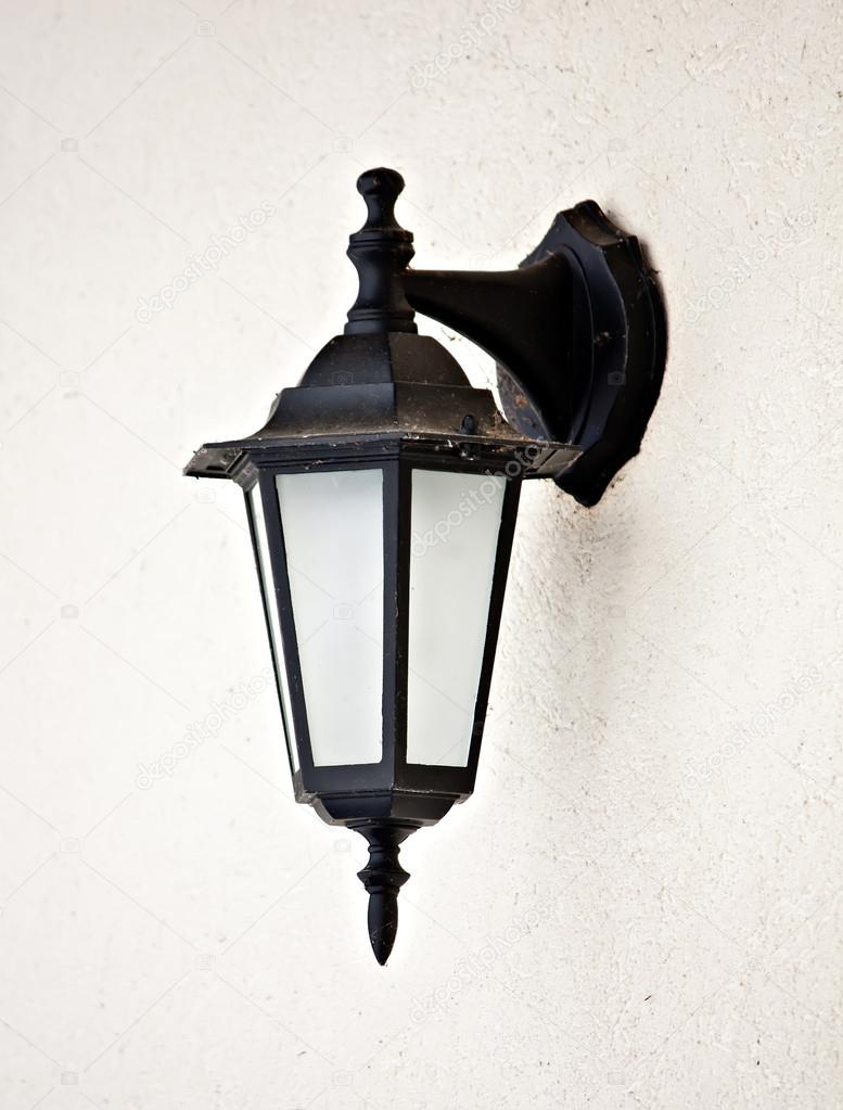 old vintage outdoor lantern hanging at wall lamp stock photo blackyze 28190763. Black Bedroom Furniture Sets. Home Design Ideas