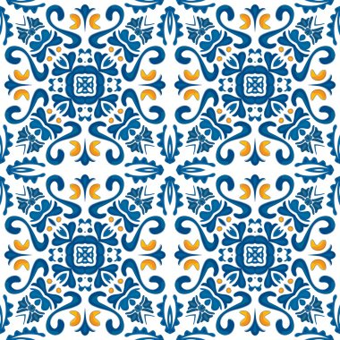 Seamless pattern in blue and orange - like Portuguese tiles clip art vector