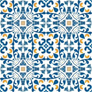 Seamless pattern in blue and orange - like Portuguese tiles stock vector