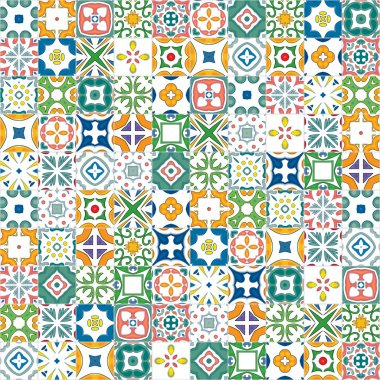 Seamless mosaic pattern made of colorful traditional illustrated tiles stock vector
