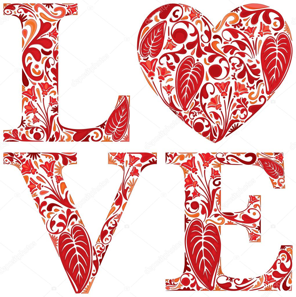 Word love made of red floral letters and heart stock vector