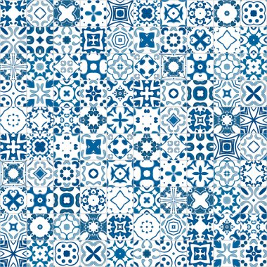 Seamless pattern illustration in blue and white - like Portuguese tile stock vector