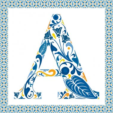 Blue floral capital letter A in frame made of Portuguese tiles clip art vector
