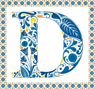 Blue floral capital letter D in frame made of Portuguese tiles stock vector