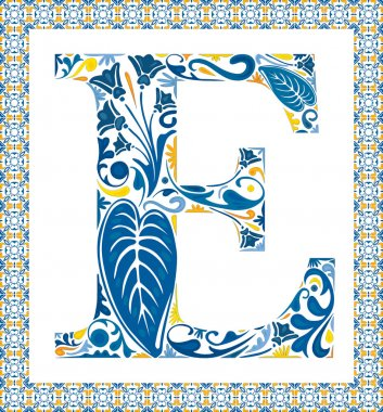 Blue floral capital letter E in frame made of Portuguese tiles stock vector