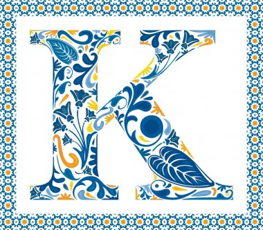 Blue floral capital letter K in frame made of Portuguese tiles stock vector