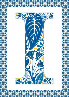 Blue floral capital letter I in frame made of Portuguese tiles stock vector