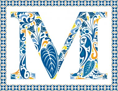 Blue floral capital letter M in frame made of Portuguese tiles stock vector