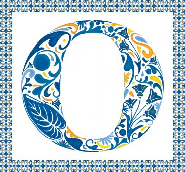 Blue floral capital letter O in frame made of Portuguese tiles stock vector