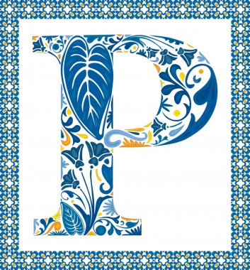 Blue floral capital letter P in frame made of Portuguese tiles stock vector