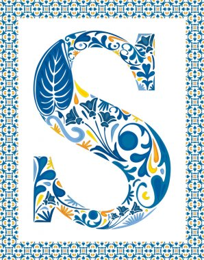Blue floral capital letter S in frame made of Portuguese tiles stock vector