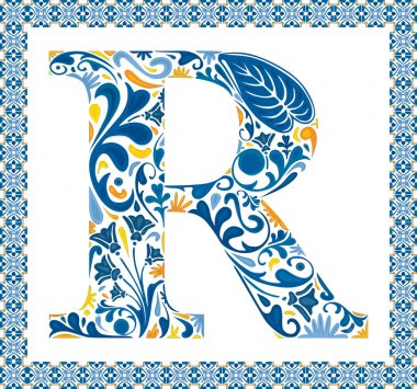 Blue floral capital letter R in frame made of Portuguese tiles stock vector