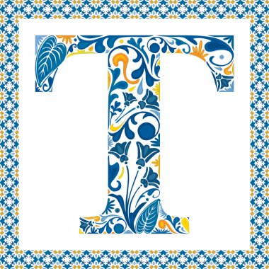 Blue floral capital letter T in frame made of Portuguese tiles stock vector