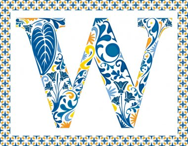 Blue floral capital letter W in frame made of Portuguese tiles stock vector