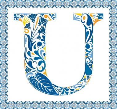 Blue floral capital letter U in frame made of Portuguese tiles stock vector
