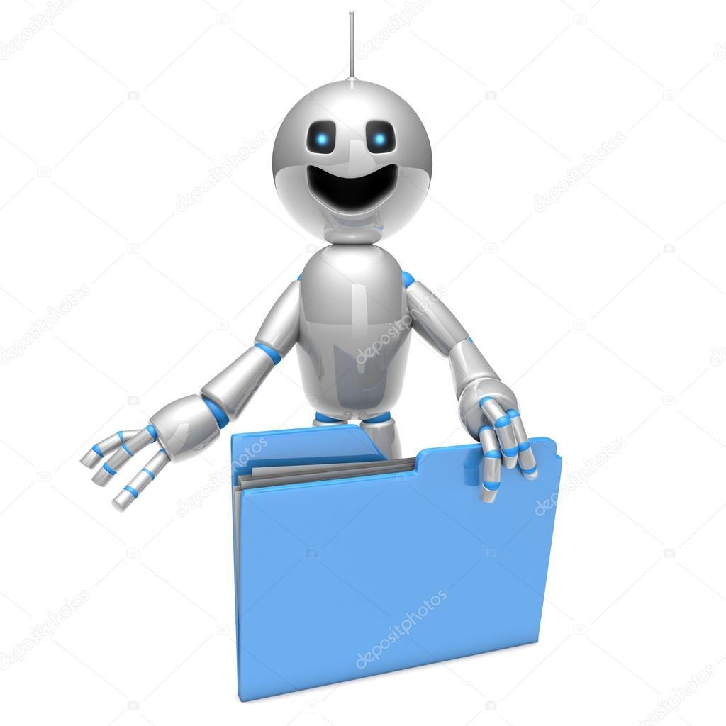 Robot dei cartoni animati con una cartella u2014 foto stock © spectral
