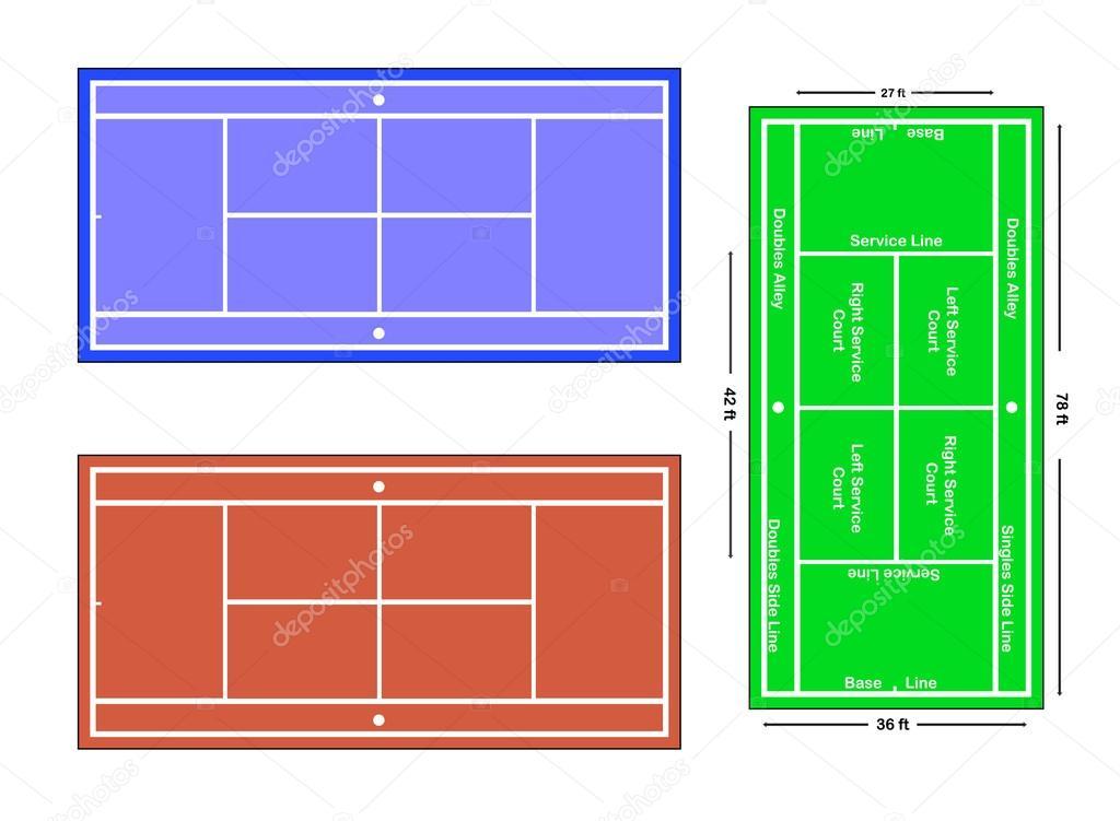 テニスコートの正確なスケール ベクトル イラスト ストックベクター