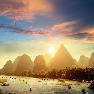 Sunset landscpae of yangshuo