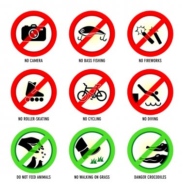 Park prohibited signs and ecology warnings, set II stock vector