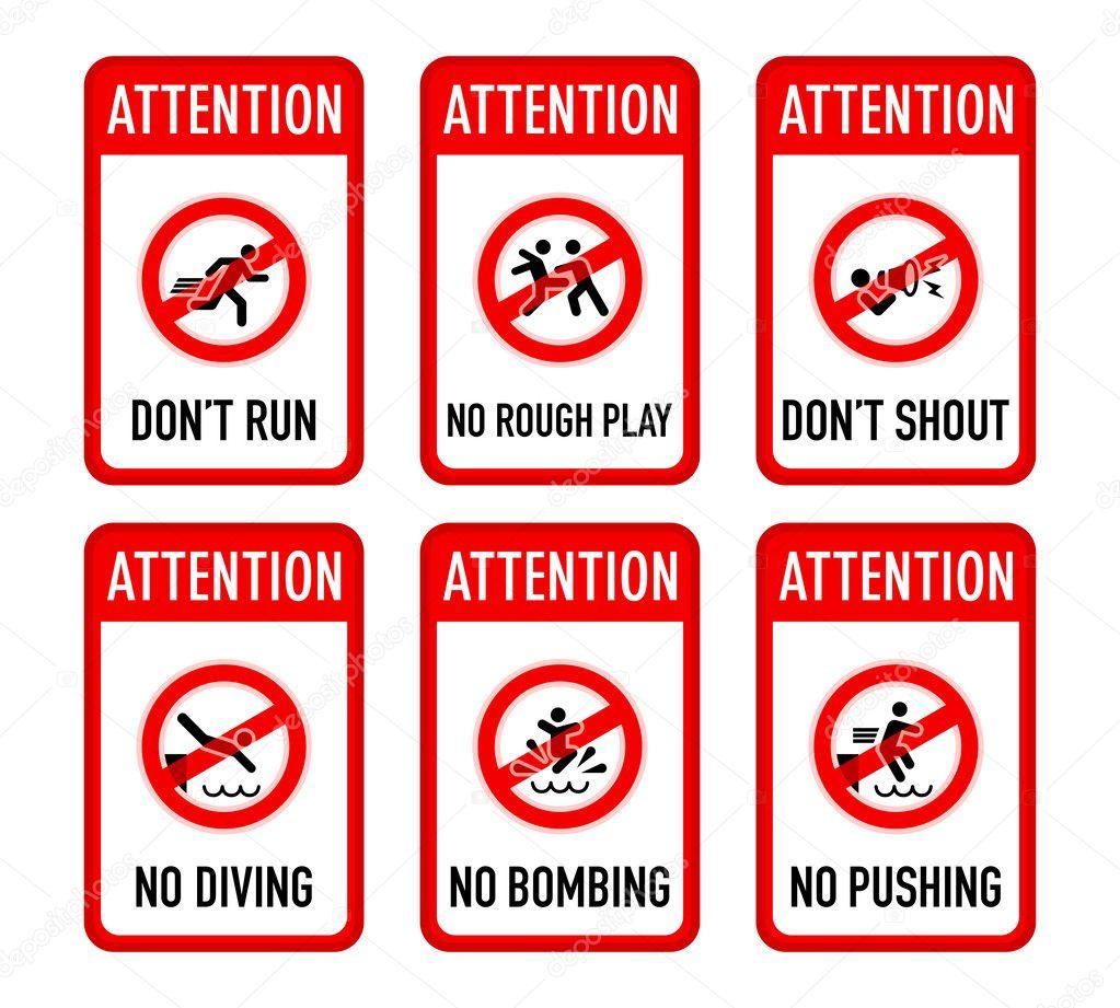 Pool signs, set I