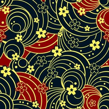 Seamless floral night pattern