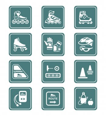 Inline skating icons - TEAL series