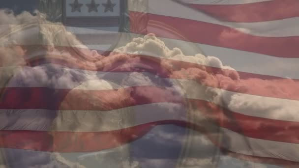 Purple Heart Medal with Time-laps Clouds and Slow-motion Waving American Flag