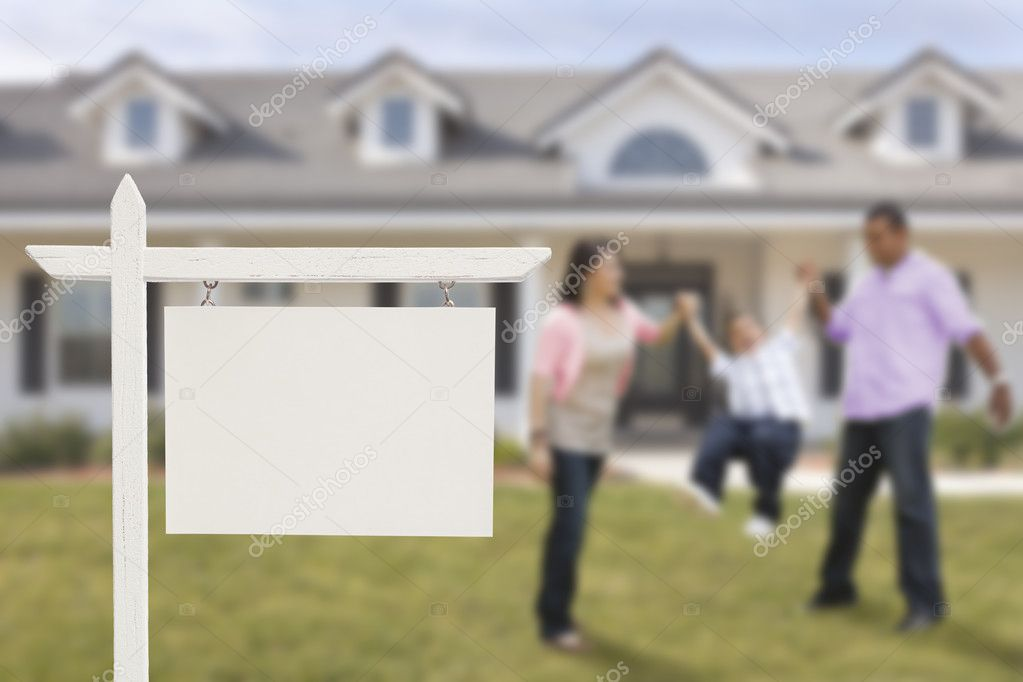 Blank Real Estate Sign and Hispanic Family in Front of House