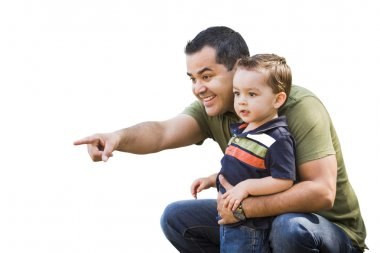 Hispanic Father Pointing With Mixed Race Son on White