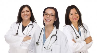 Three Hispanic and Mixed Race Female Doctors or Nurses Isolated on a White Background. stock vector