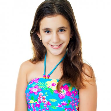 Hispanic teen wearing a swimsuit