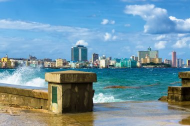 The skyline of Havana with a turbulent sea