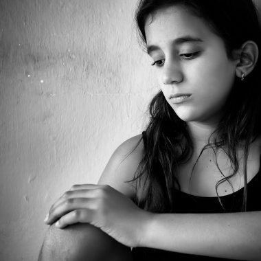 Girl with a very sad expression