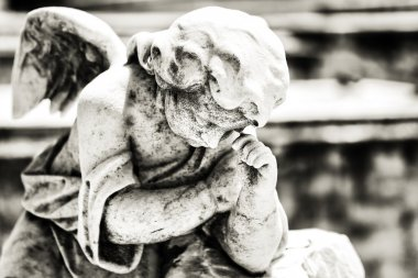 Beautiful vintage angel on a cemetery