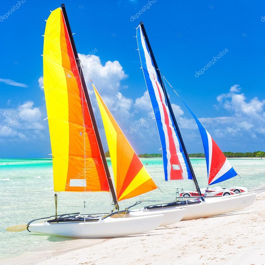 Colorful catamarans at a beach in Cuba
