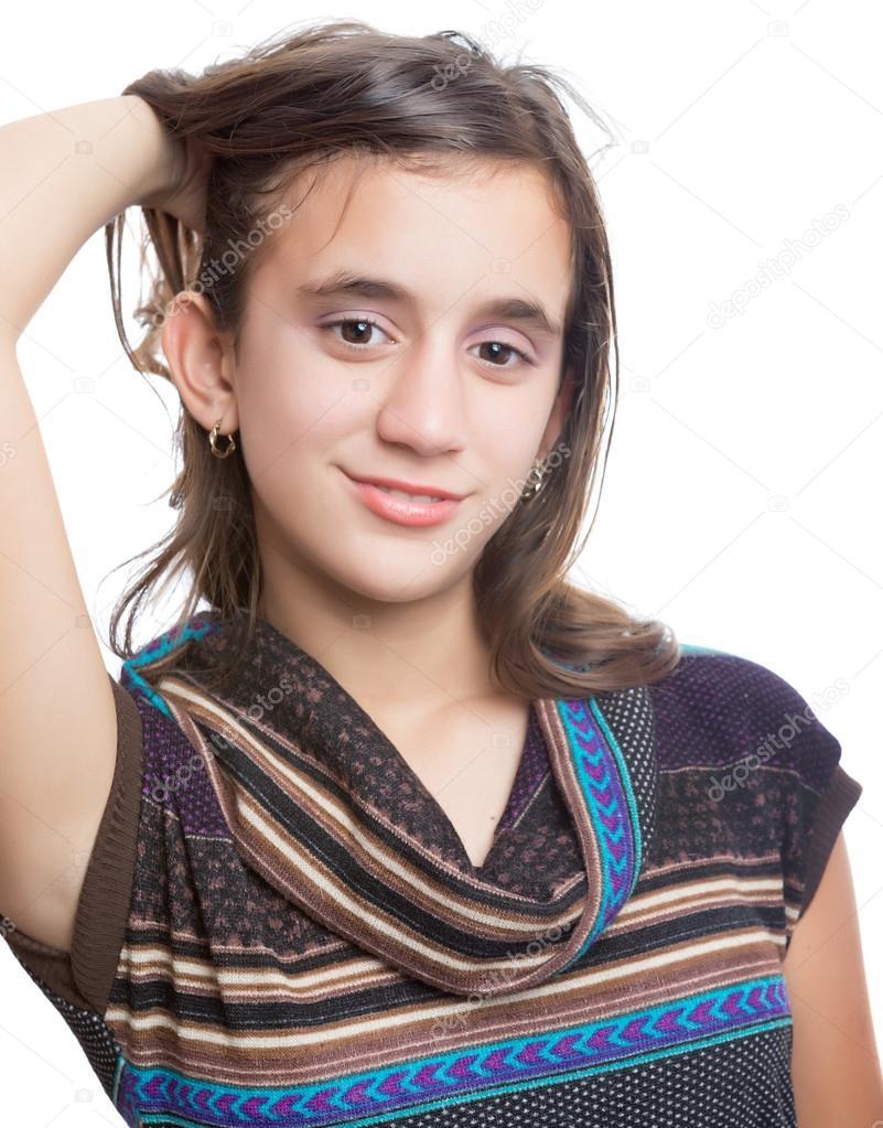 Trendy hispanic teenager modeling for the camera — Stock