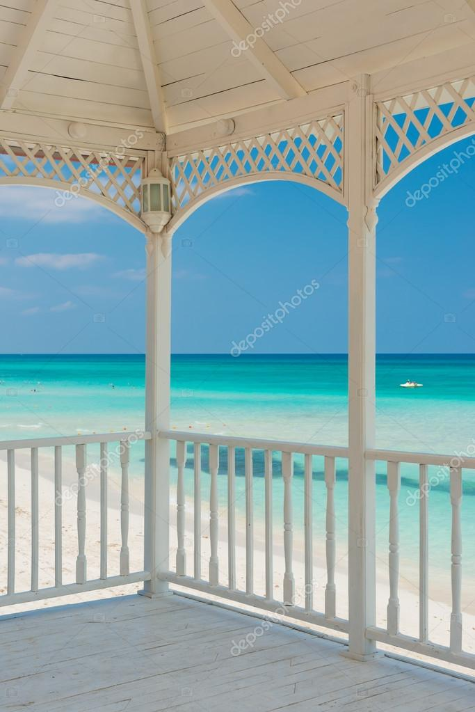 View of Varadero beach in Cuba from a wooden terrace