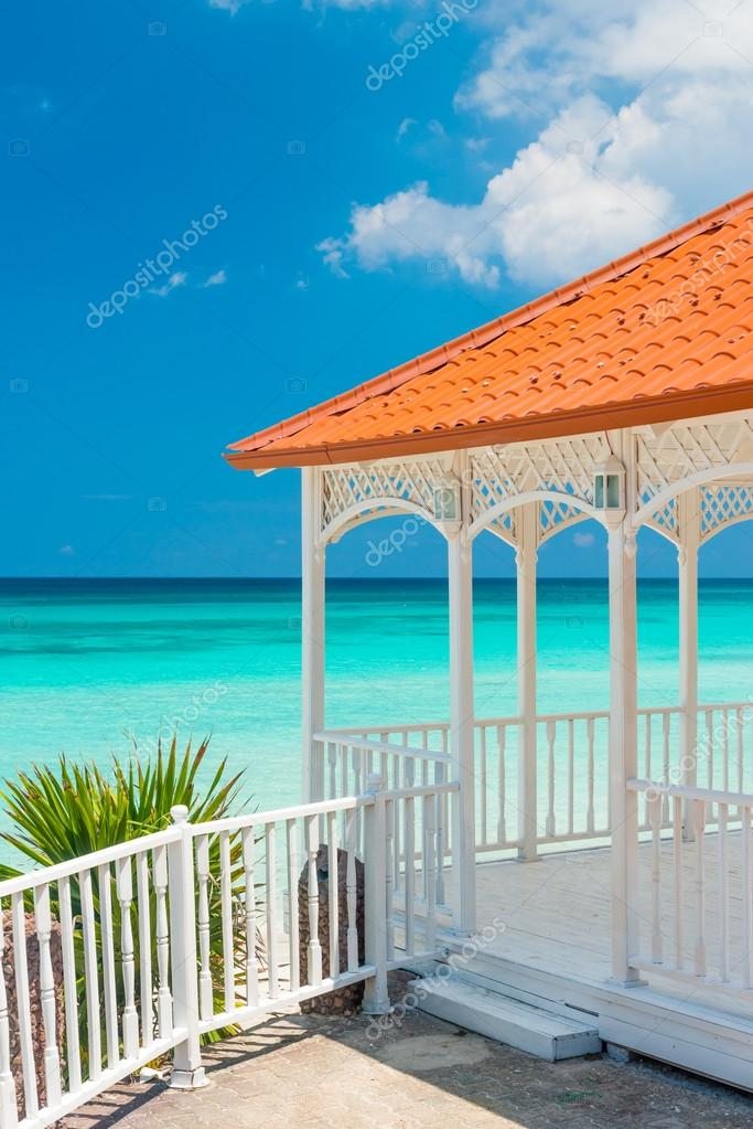 Beautiful wooden terrace next to a beach in Cuba