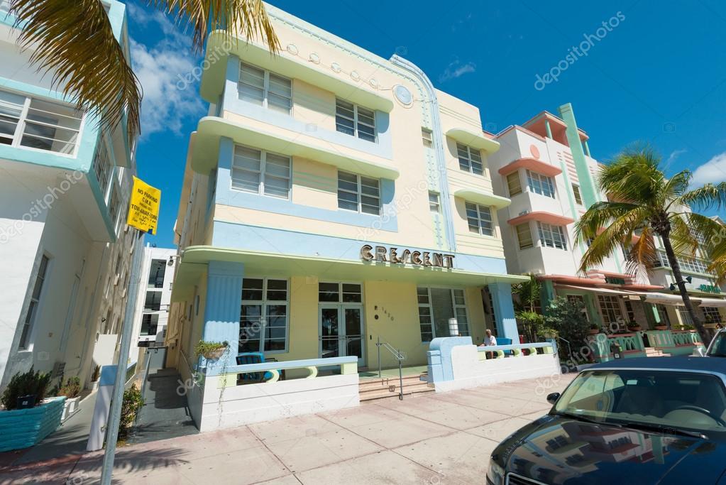 art deco architecture at ocean drive in south beach miami stock