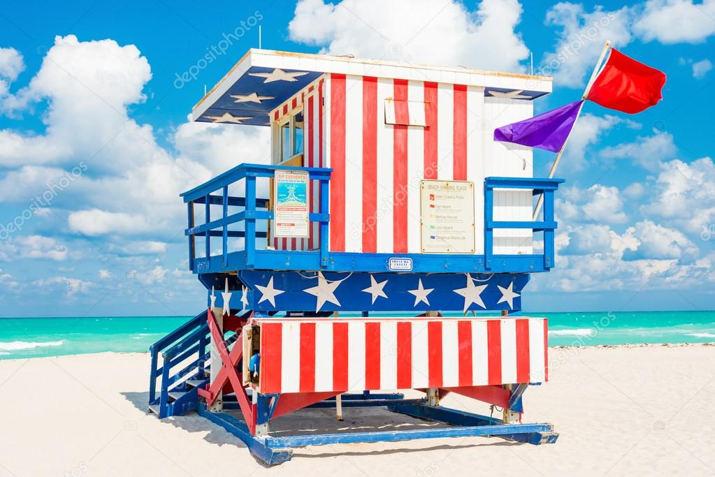 Colorful lifeguard tower in South Beach, Miami