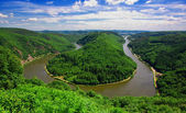 Fotografie Saarschleifen - The Saar river turning around the hill in Saarland, Germany