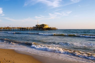 Beautiful Santa Monica beach and the Pacific Ocean before sunset, Santa Monica near Los Angeles, California, USA