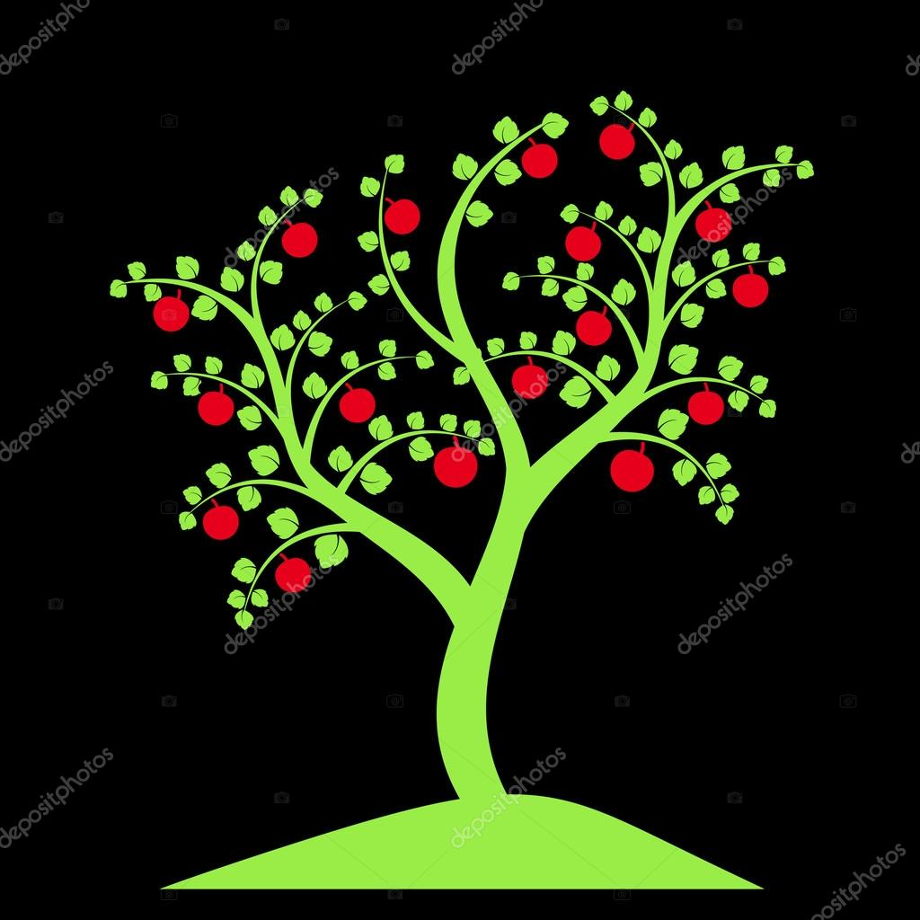 apple tree silhouette isolated on black background vector by ibphoto