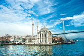 Photo Ortakoy mosque and Bosphorus bridge, Istanbul, Turkey.