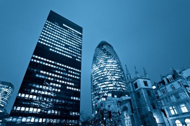 Evening time shot of London's famous skyscrapers including 'the