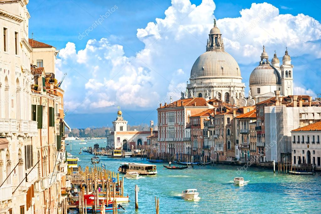 Venice, view of grand canal and basilica of santa maria della sa