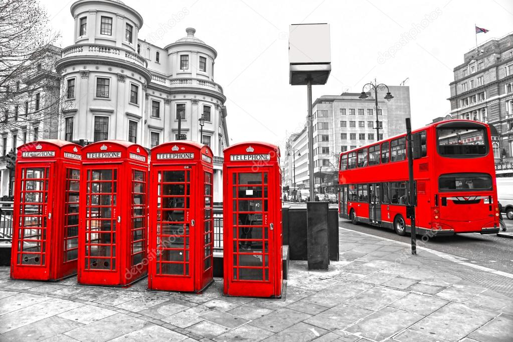LONDON - MARCH 17: Double-decker bus, red telephone boxes and un