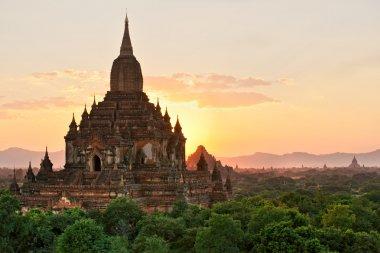 Silhouette of Sulamani temple at sunset, Bagan, Myanmar.