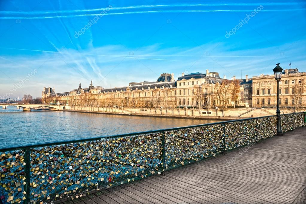 Louvre Museum and Pont ses arts, Paris - France